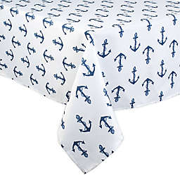 DII Anchors Print Indoor/Outdoor Table Linen Collection in Navy Blue/White