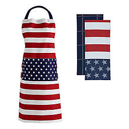 Stars and Stripes 3-Piece Kitchen Towel and Apron Set