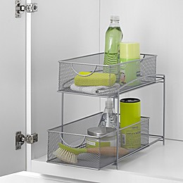 ORG Mesh 2-Tier Sliding Cabinet Basket in Silver