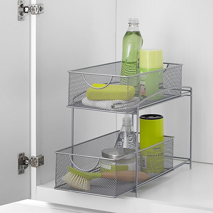 Alternate image 1 for ORG 2-Tier Mesh Sliding Cabinet Baskets in Silver