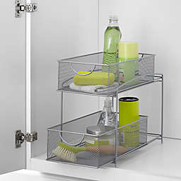 ORG 2-Tier Mesh Sliding Cabinet Baskets in Silver