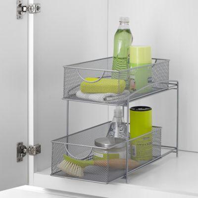 .ORG™ Mesh 2 Tier Sliding Cabinet Basket In Silver   Bed Bath U0026 Beyond