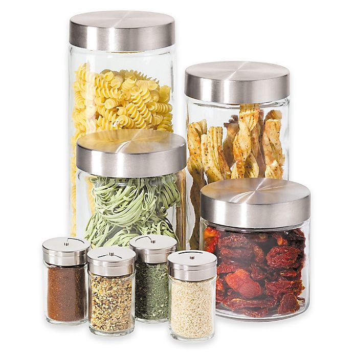 Alternate image 1 for Oggi™ 8-Piece Round Glass Canister Set with Spice Jars