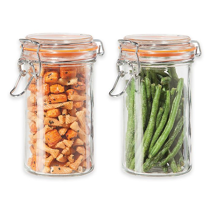 Alternate image 1 for Oggi™ 2-Piece Glass Canisters with Clamp Lid Set