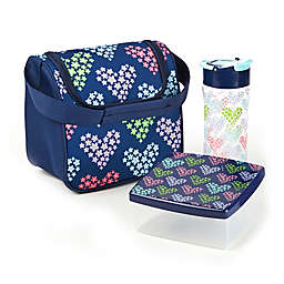 Fit and Fresh Insulated Lunch Bag Kit in Heart Flower Print