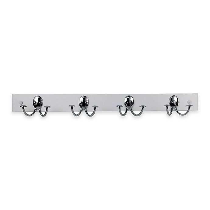 Alternate image 1 for Spectrum™ Stratford Wood Rack with 4 Double Hooks in White