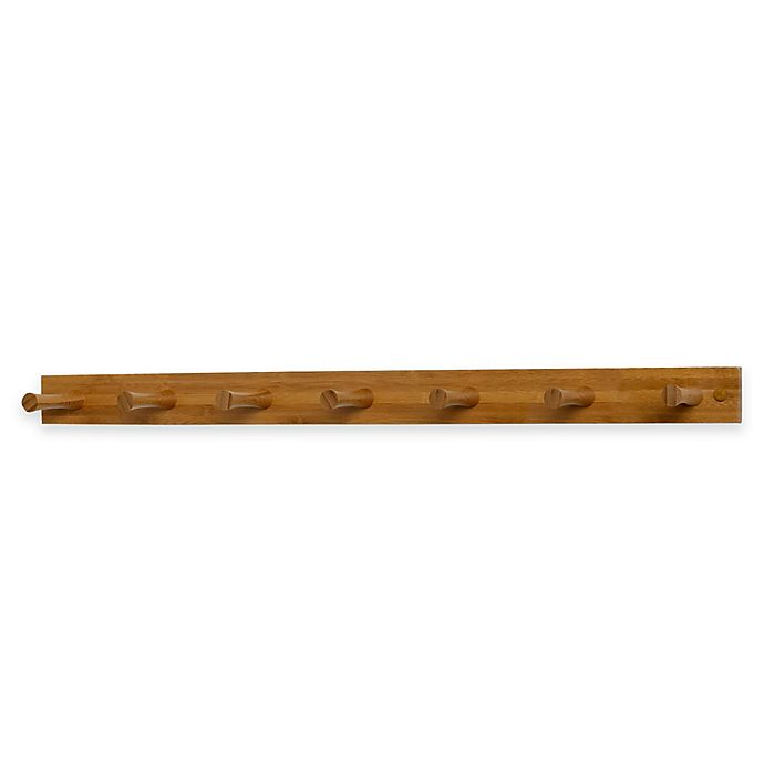 Alternate image 1 for Spectrum™ 7-Peg Wall-Mount Wood Rack in Bamboo