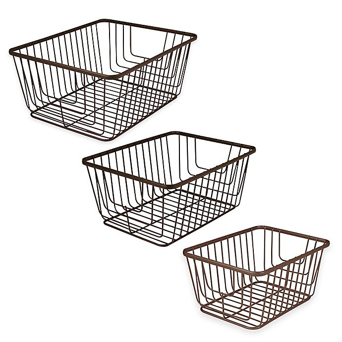 Alternate image 1 for Spectrum® Ashley Storage Basket in Bronze