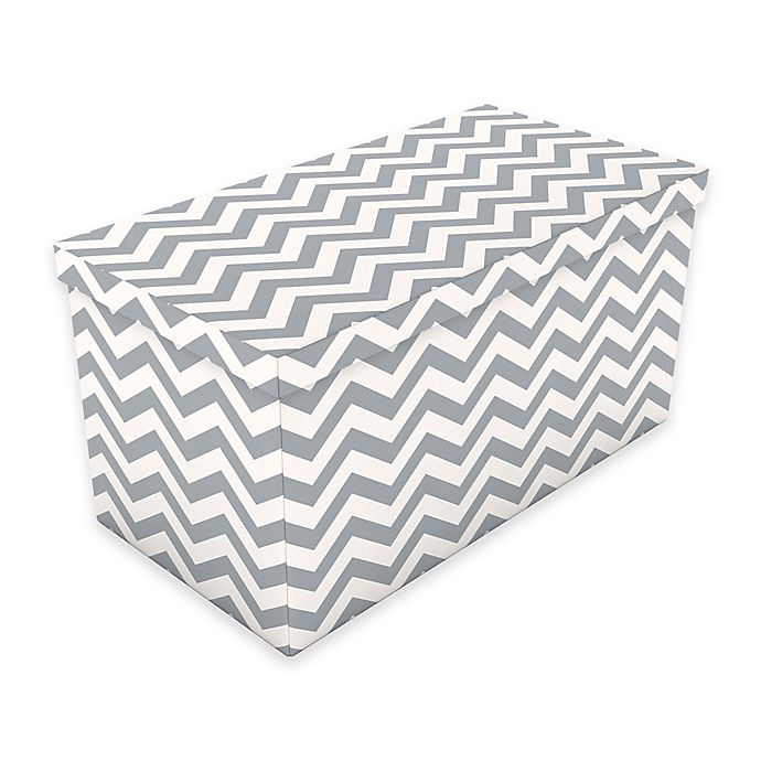 Peachy Chevron Storage Ottoman In Grey Bed Bath Beyond Caraccident5 Cool Chair Designs And Ideas Caraccident5Info