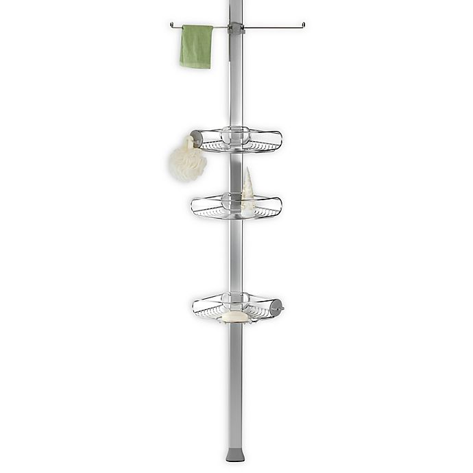 Alternate image 1 for simplehuman® 4-Tier Stainless Steel Tension Pole Shower Caddy