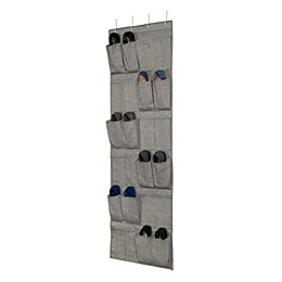 Arrow Weave 24-Pocket Over-the-Door Shoe Organizer in Grey