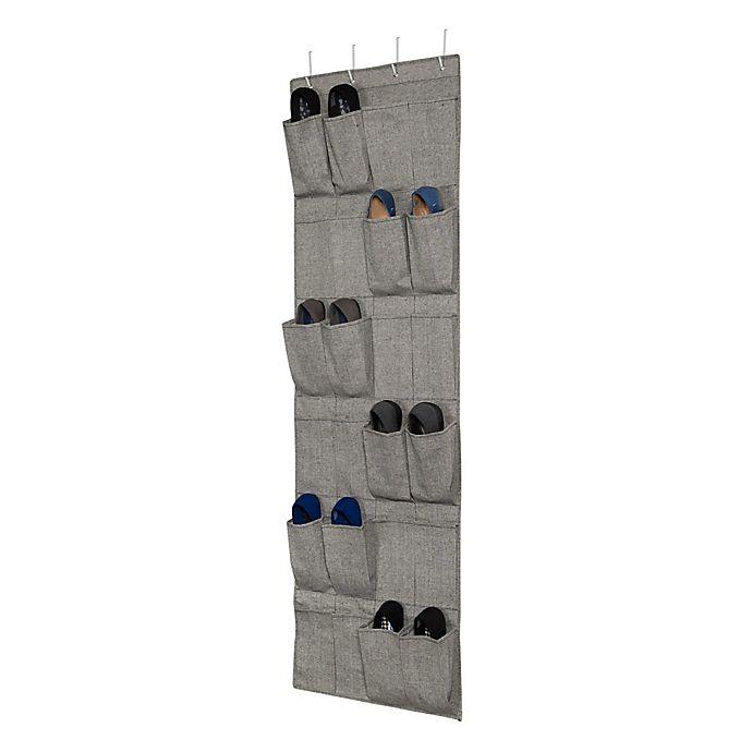 Alternate image 1 for ORG Arrow Weave 24-Pocket Over-the-Door Shoe Organizer in Grey