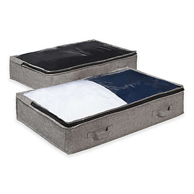 Arrow Weave Underbed Bags in Grey (Set of 2)