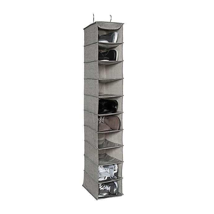 Alternate image 1 for Arrow Weave 10-Shelf Deluxe Clothing and Shoe Organizer in Grey