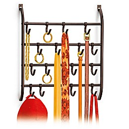 16-Hook Over-the-Door Accessory Organizer in Bronze