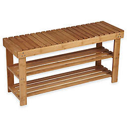 Household Essentials® 2-Shelf Bamboo Storage Bench Seat in Natural