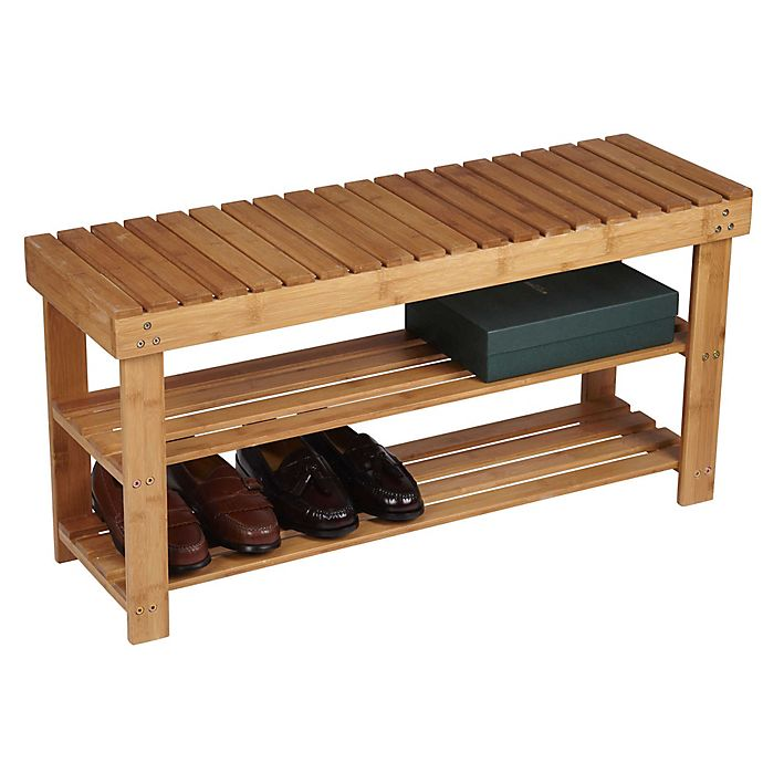 Alternate image 1 for Household Essentials® 2-Shelf Bamboo Storage Bench Seat in Natural