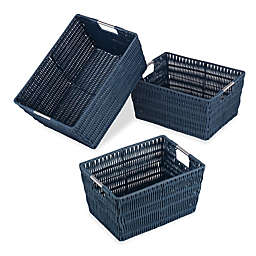 Whitmor 3-Piece Storage Basket Set in Navy