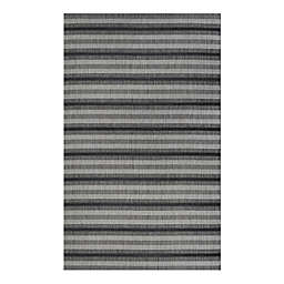 Couristan®Veranda Havasu Stripe 7'10x10'9 Area Rug in Gray/Black
