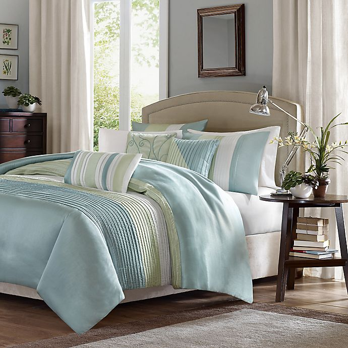 Alternate image 1 for Madison Park Amherst Queen Duvet Cover Set in Green