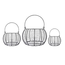 DII Design Imports Food Safe Round Vintage Metal Baskets in Grey (Set of 3)