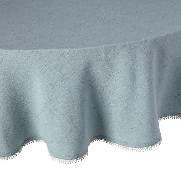 Alternate image 1 for Lenox® French Perle Solid 70-Inch Round Tablecloth in Ice Blue