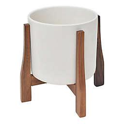 Rita Round Ceramic Planter with Acacia Stand