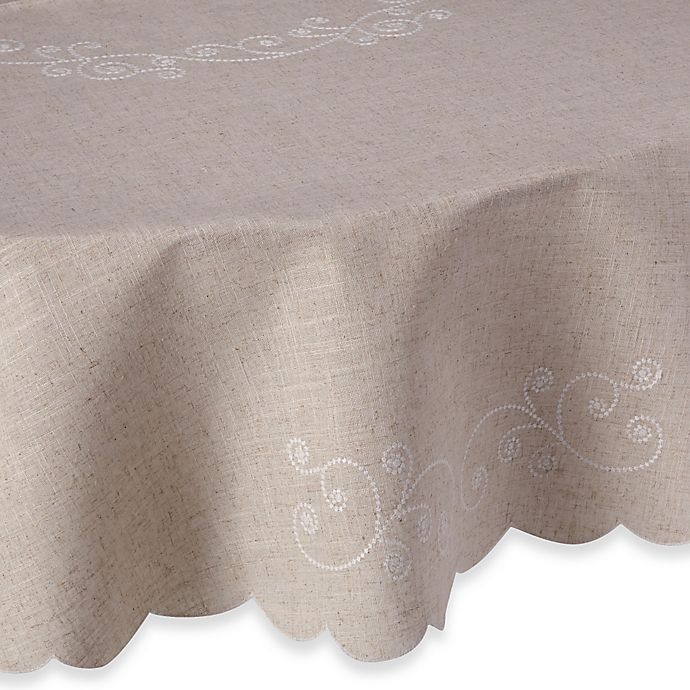 Alternate image 1 for Lenox® French Perle 70-Inch Round Tablecloth in Linen