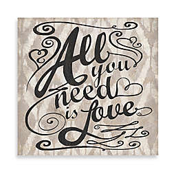 """Ikat """"All You Need Is Love"""" 12-Inch x 12-Inch Canvas Wall Art"""
