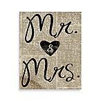 Mr. & Mrs.  Newspaper 8-Inch x 10-Inch Canvas Wall Art