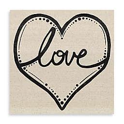 Love Script Heart Canvas Wall Art