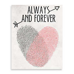 """Finger Stamped Heart and Arrow """"Always and Forever"""" Canvas Wall Art"""
