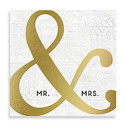 """""""Mr. & Mrs."""" Golden Ampersand Canvas Wall Art"""