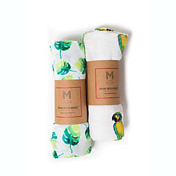 Malabar Baby 2-Pack Tropical Paradise Organic Cotton Swaddle Blankets