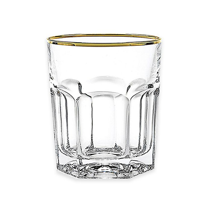 Alternate image 1 for Lorren Home Trends Provenza Double Old Fashioned Glasses in Gold (Set of 6)