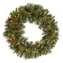 National Tree Company Crestwood Spruce Christmas Wreath with Warm LED Lights