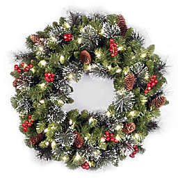 National Tree Company 24-Inch Crestwood Spruce Pre-Lit Christmas Wreath with Warm LED Lights