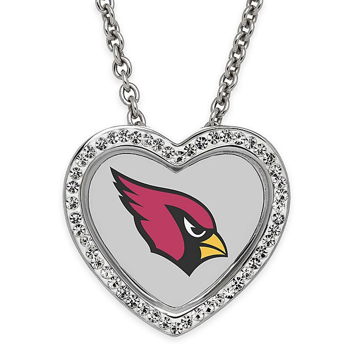 Top NFL Arizona Cardinals Sterling Silver 18 Inch Chain Crystal Heart