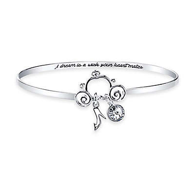 Disney® Silver-Plated Crystal Pendant 8-Inch Bangle Bracelet