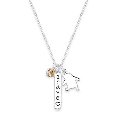 "Disney® Sterling Silver Winnie-the-Pooh 16-Inch Chain ""Brave"" Pendant Necklace"