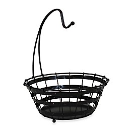 Mesa Old Country Iron Fruit Bowl with Removable Banana Hook in Antique Black