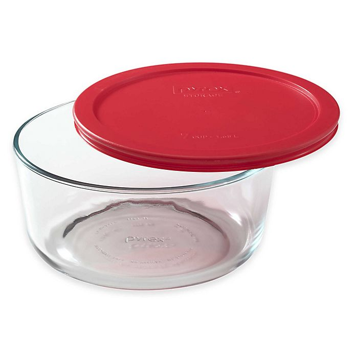 Alternate image 1 for Pyrex® Storage Plus 7-Cup Round Glass Bowl with Cover
