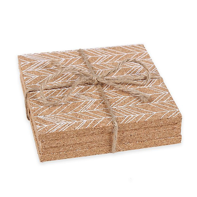 Alternate image 1 for Thirstystone® Feathered Chevron Cork Coasters in White (Set of 4)
