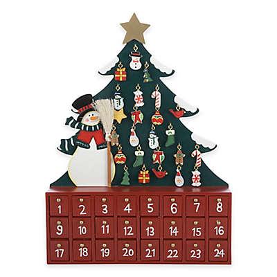 Kurt Adler Wooden Snowman with Christmas Tree Advent Calendar