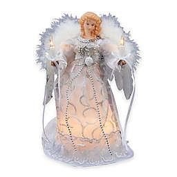 Kurt Adler 9-Inch Polyester Angel Tree Topper in White with 10 Lights
