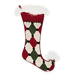 Needlepoint 20-Inch Jester Diamond Cotton Christmas Stocking