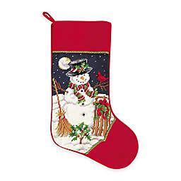 Needlepoint 18-Inch Snowman Cotton Christmas Stocking