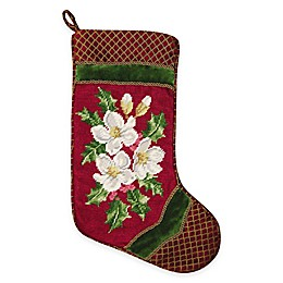 Needlepoint 18-Inch Holiday Snow Rose Cotton Christmas Stocking