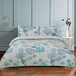 Seascape Ocean 3-Piece Reversible Quilt Set in Blue