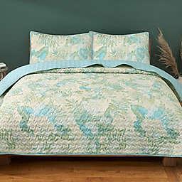 Kingsley 3-Piece Microfiber Quilt Set in Blue/Green
